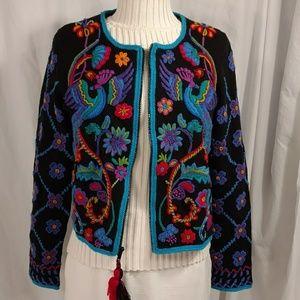 Michael Simon Colorful Sweater Birds Beads Tassle